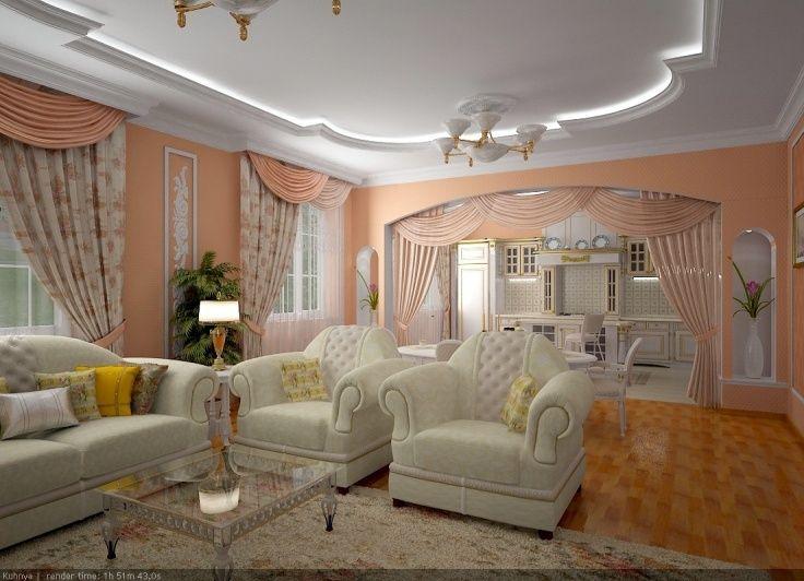 Дизайн гостиной-столовой в частном доме